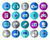 Colored icons with images of communication audio and video equipment Vector clip art