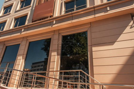 Photo for Railing near modern facade of building in Istanbul, Turkey - Royalty Free Image