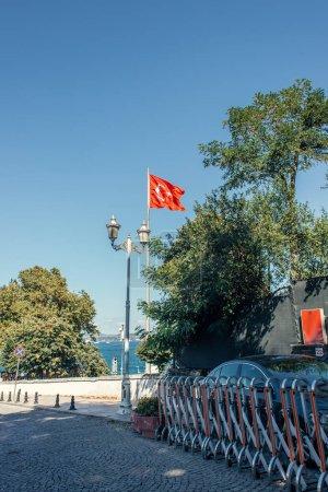 Flag of turkey on urban street in Istanbul