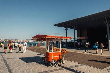 ISTANBUL, TURKEY - NOVEMBER 12, 2020: Bakery cart on sidewalk on urban street