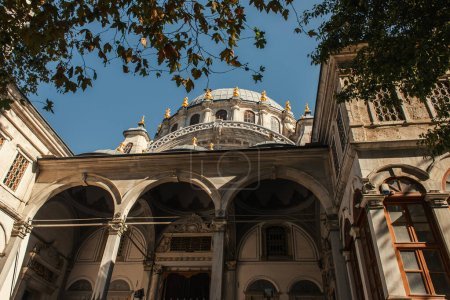 Low angle view of facade of Mihrimah Sultan Mosque, Istanbul, Turkey