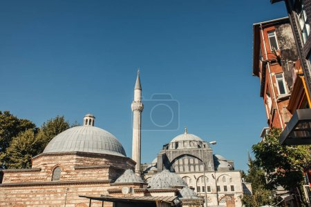 Architecture of Mihrimah Sultan Mosquewith blue sky at background, Istanbul, Turkey