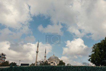 Architecture of Mihrimah Sultan Mosque with cloudy sky at background, Istanbul, Turkey