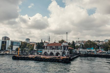 ISTANBUL, TURKEY - NOVEMBER 12, 2020: Buildings on embankment near sea in Istanbul, Turkey