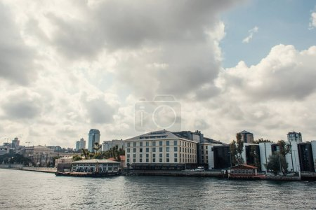 Photo for Buildings on seafront with cloudy sky at background in Istanbul, Turkey - Royalty Free Image