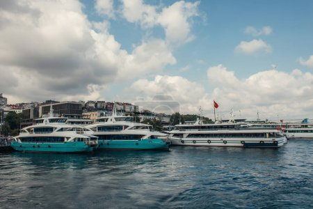 Yachts with turkish flag near coast of Istanbul, Turkey