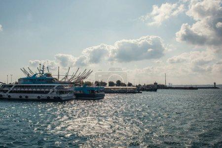 Moored ships in sea near coast in Istanbul, Turkey