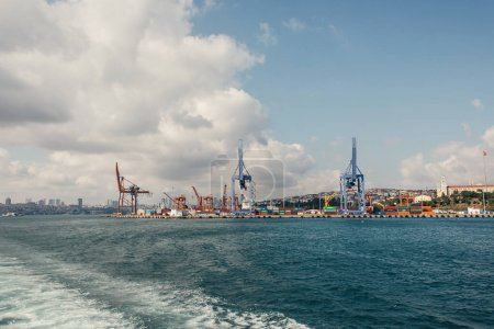 Photo for High cranes of cargo port on coast of sea in Istanbul, Turkey - Royalty Free Image