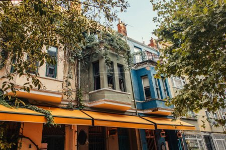 Colorful balconies on facade of house in Istanbul, Turkey