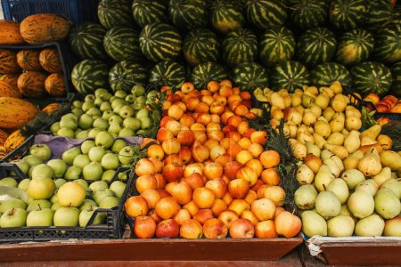 Fresh fruits on counter of outdoors market