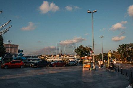 ISTANBUL, TURKEY - NOVEMBER 12, 2020: Urban street with road and sidewalk