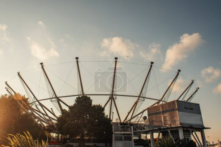 Lighting construction for scene with sky at background in evening, Istanbul, Turkey