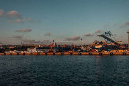 Cargo port with cranes on coast of sea, Istanbul, Turkey