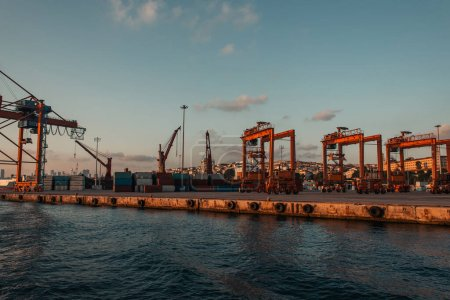 Photo for Industrial cranes in sea port of Istanbul, Turkey - Royalty Free Image