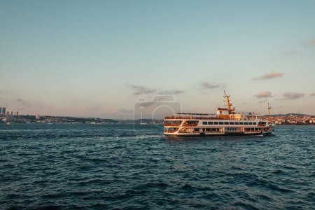 Ship in sea with sky at background during sunset, Istanbul, Turkey