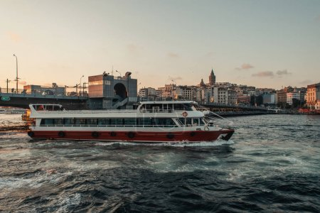 Photo for Ship and Istanbul city at background during sunset, Turkey - Royalty Free Image