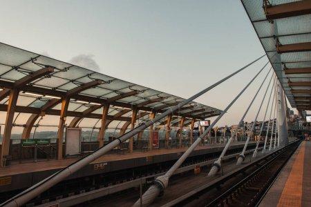 ISTANBUL, TURKEY - NOVEMBER 12, 2020: Construction of Golden horn metro bridge in evening