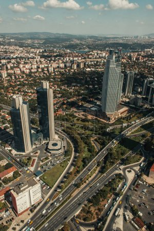 aerial view of city with skyscrapers and roads, Istanbul, Turkey