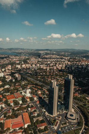 Photo for Aerial view of Istanbul with skyscrapers and streets - Royalty Free Image