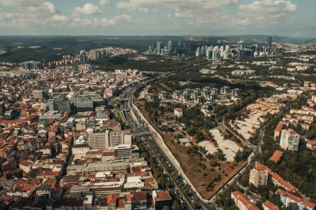 Photo for Cityscape with modern houses and streets, aerial view, Istanbul, Turkey - Royalty Free Image