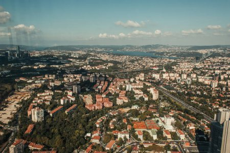 aerial view of Istanbul city with cloudy sky