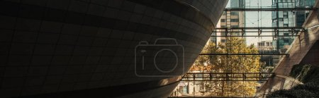 Photo for Spherical hi-tech construction and modern buildings, banner - Royalty Free Image