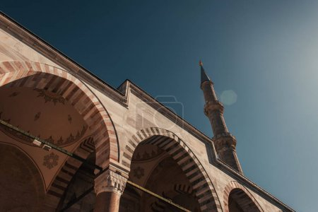 low angle view of decorated arches of Mihrimah Sultan Mosque, Istanbul, Turkey