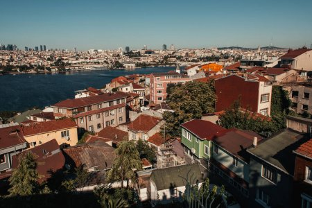 aerial view of old houses and Bosphorus strait