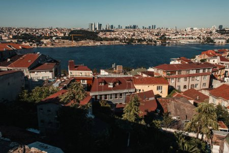 aerial view of old and modern houses, and Bosphorus strait