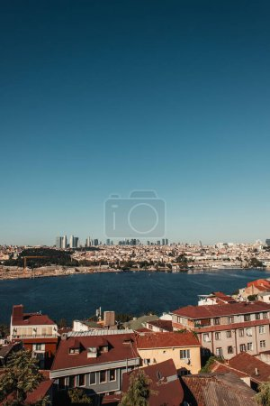 cityscape, and view of Bosphorus strait against blue sky, Istanbul, Turkey