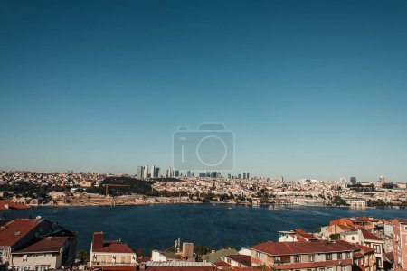 picturesque view of city and Bosphorus strait against cloudless sky, Istanbul, Turkey