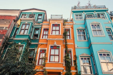green ivy on multicolored, decorated houses in Jewish quarter in Istanbul, Turkey