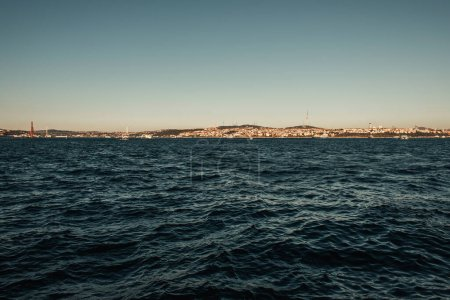 view of Istanbul from wavy sea