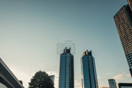 contemporary, multistorey building against cloudless sky in Istanbul, Turkey