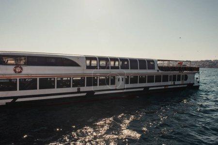moored touristic ship in Bosphorus strait, Istanbul, Turkey