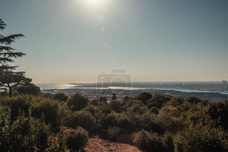 cielo despejado y soleado sobre el estrecho del Bósforo y las verdes colinas