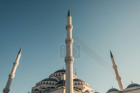 blue, cloudless sky above minarets of Mihrimah Sultan Mosque, Istanbul, Turkey
