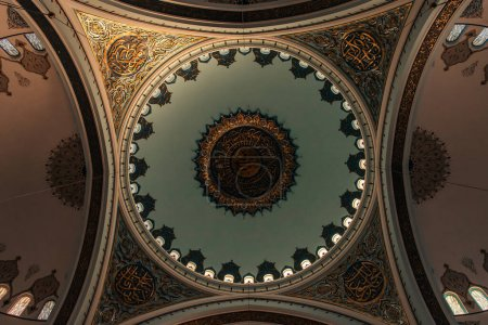 ISTANBUL, TURKEY - NOVEMBER 12, 2020: bottom view of arch ceiling of Mihrimah Sultan Mosque