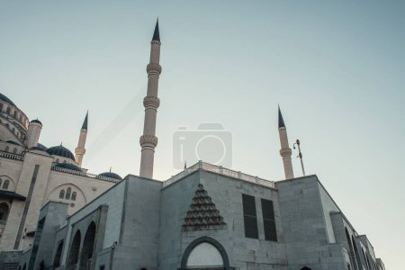 exterior of Mihrimah Sultan Mosque with minarets against clear sky, Istanbul, Turkey