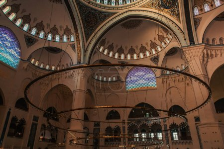 ISTANBUL, TURKEY - NOVEMBER 12, 2020: interior of Mihrimah Sultan Mosque with arches and ornament