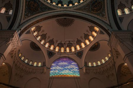 ISTANBUL, TURKEY - NOVEMBER 12, 2020: interior of Mihrimah Sultan Mosque with decorated arch ceiling