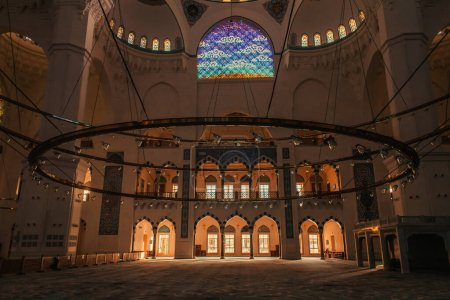 ISTANBUL, TURKEY - NOVEMBER 12, 2020: interior of Mihrimah Sultan Mosque with natural light coming through windows