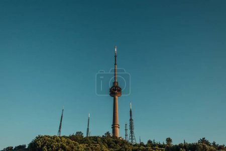 blue sky over radio and tv towers