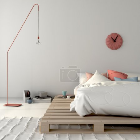 Stylish bed on wooden pallets and pink decor