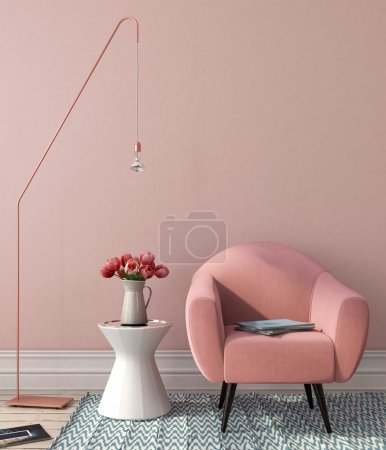 Photo for Interior in pink-and-blue color with a chair, a table and stylish copper floor lamp - Royalty Free Image