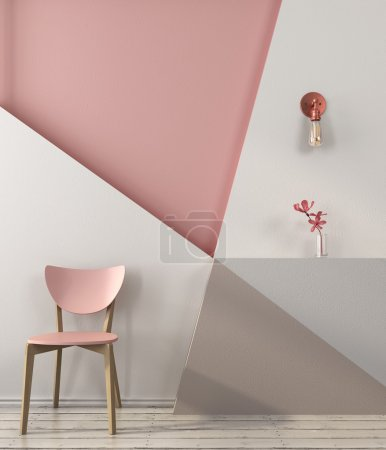 Photo for Pink chair on the background of a wall with geometric shapes in pink and gray colors - Royalty Free Image