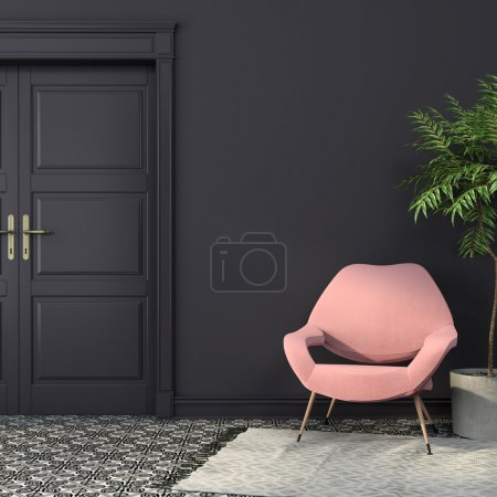 Photo for Stylish pink armchair in the interior with dark walls and a beautiful black-and-white tiles on the floor - Royalty Free Image