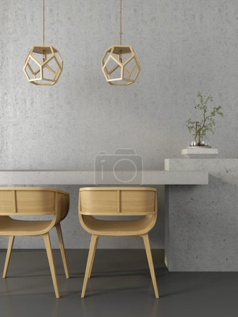 Concrete interior  with wooden chairs