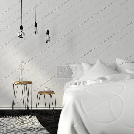 Photo pour Chambre lumineuse avec parquet noir et tabourets en bois élégants - image libre de droit
