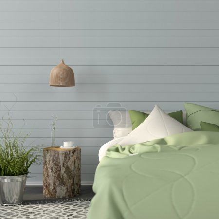 Bedroom interior in a green color